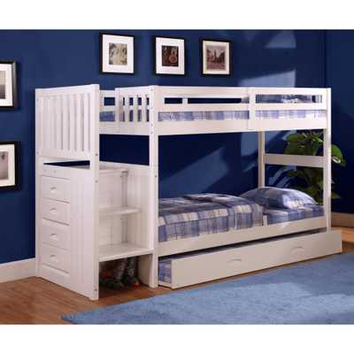 American Furniture Classics White Twin over Twin Solid Pine Staircase Bunkbed with 4-Drawer Chest and Twin Trundle - Home Depot