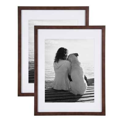 DesignOvation Gallery 14x18 matted to 11x14 Walnut Brown Picture Frame Set of 2 - Home Depot