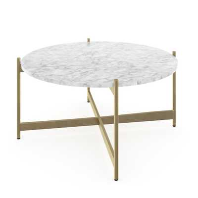 Nathan James Piper White Faux Marble Brass Gold Metal Frame Round Modern Living Room Coffee Table, White/Gold - Home Depot