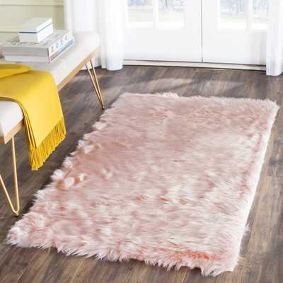 Anthony  Fur Pink Area Rug - Wayfair