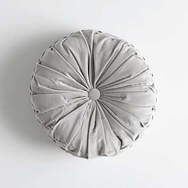 Velvet Pleated Round Pillow, O/S, Light Gray - Pottery Barn Teen