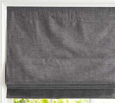 "Emery Linen/Cotton Cordless Roman Shade, 32 x 64"", Charcoal - Pottery Barn"
