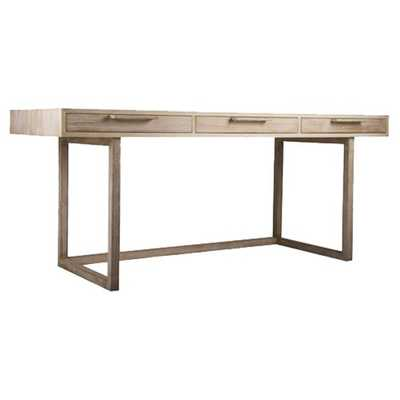 Sublime Original The Campaign Writing Desk Modern Driftwood Three Drawer Writing Desk - Kathy Kuo Home