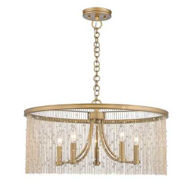 Golden Lighting Marilyn CRY 5-Light Peruvian Gold Chandelier with Crystal Strands Shade - Home Depot