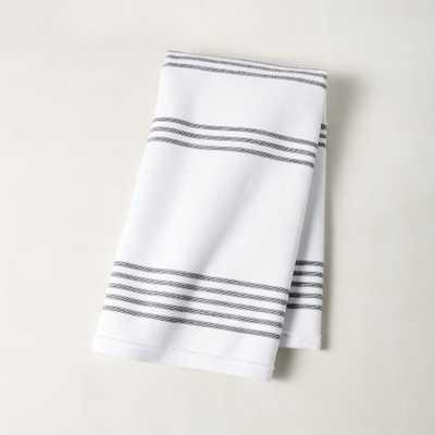 Raya Black and White Striped Hand Towel - CB2
