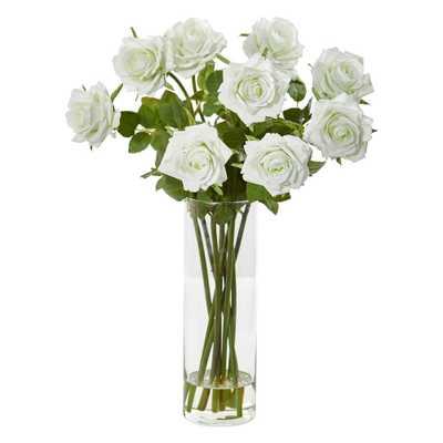 Nearly Natural Indoor Rose Artificial Arrangement in Cylinder Vase - Home Depot