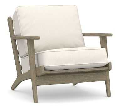 Raylan Upholstered Armchair, Polyester Wrapped Cushions, Performance Heathered Tweed Ivory - Pottery Barn