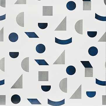 Mid-Century Tile Wallpaper, White/Grey/Navy - West Elm