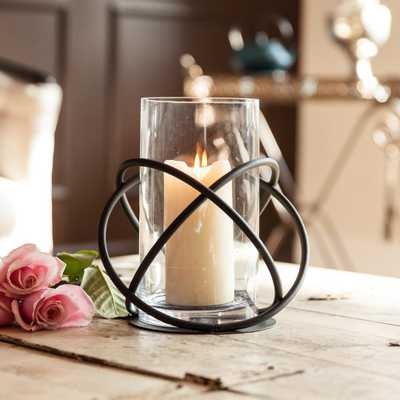 Orbits Black Metal and Clear Glass Hurricane Candleholder - Home Depot
