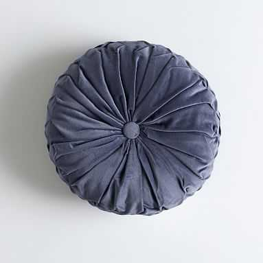 Velvet Pleated Round Pillow, O/S, Faded Navy - Pottery Barn Teen