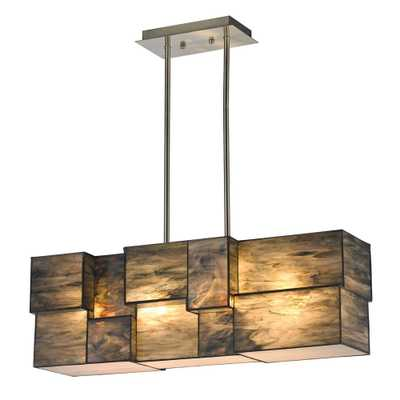 Titan Lighting Braque Collection 4-Light Brushed Nickel Chandelier With Dusk Sky Tiffany Cube Glass Shade - Home Depot