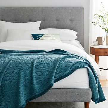 Velvet Trim Textural Blanket, Full/Queen, Mineral Blue - West Elm