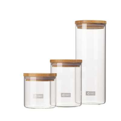 3-Piece Glass and Bamboo Canister Set - B, Clear - Home Depot