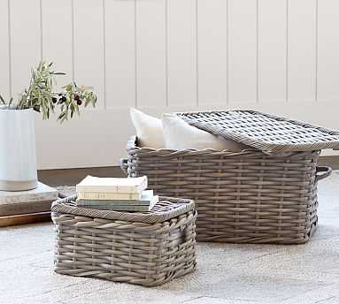 Aubrey Woven Small Lidded Basket - Pottery Barn
