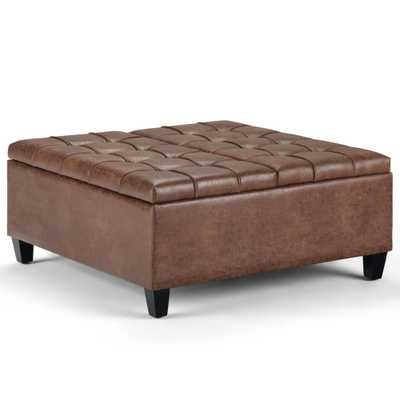 Harrison Distressed Umber Brown Coffee Table Storage Ottoman - Home Depot