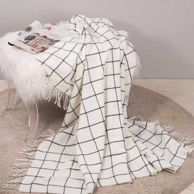 60 in. L Acrylic White/Black Plaid Woven Throw, White and Black - Home Depot