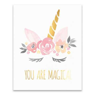 You Are Magical Unicorn by Lot26 Studio Printed Canvas Wall Art, Pink/Orange/Gold/Beige/White/Black - Home Depot