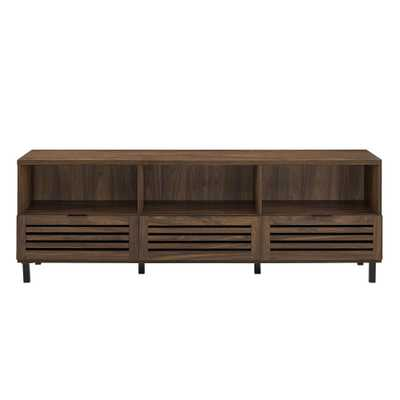 70 in. Dark Walnut Jackson Slat Door Media Storage Console TV Stand Entertainment Center - Home Depot