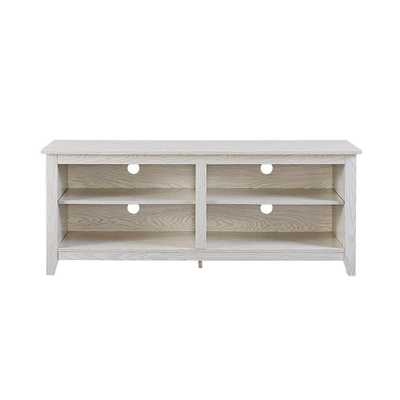 Essentials White Wash Storage Entertainment Center - Home Depot