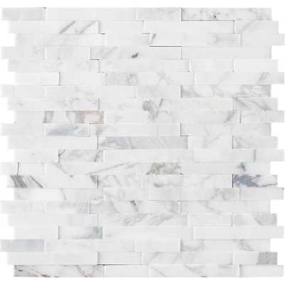 MSI Calacatta Marbella Peel and Stick 12 in. x 12 in. x 6 mm Honed Marble Mosaic Tile (15 sq. ft. / case), White PRICE PER TILE-$ 13 98 - Home Depot