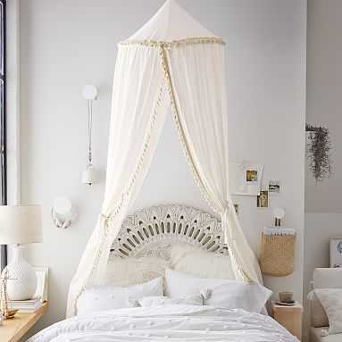 """Fabric Canopy With Tassels, 24"""", Ivory - Pottery Barn Teen"""