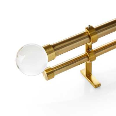 """CB Brass Glass Globe Finial and Double Curtain Rod Set 120""""-170"""" - Crate and Barrel"""