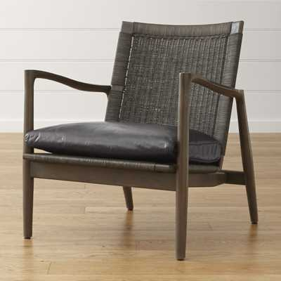 Sebago Midcentury Rattan Chair with Leather Cushion - Crate and Barrel