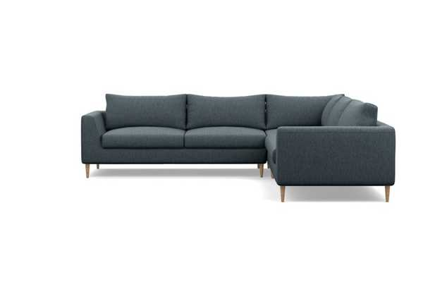 Asher Corner Sectional with Blue Rain Fabric and Natural Oak legs - Interior Define