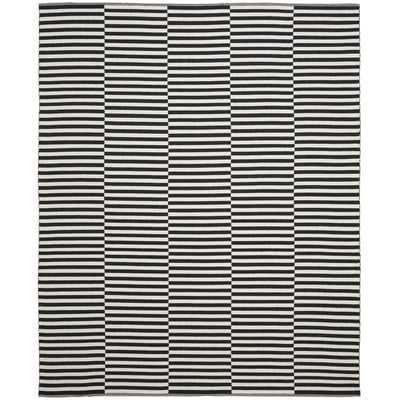 Orwell Striped Handmade Flatweave Cotton Ivory/Black Area Rug - AllModern