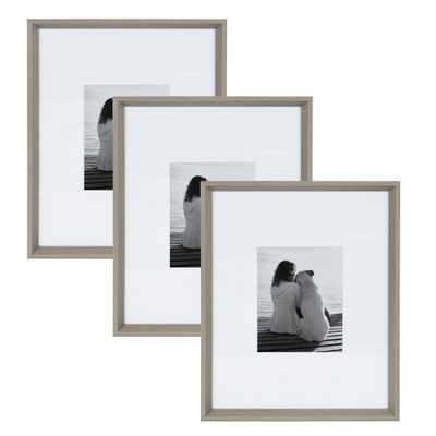 Calter 16 in. x 20 in. Matted to 8 in. x 10 in. Gray Picture Frame (Set of 3) - Home Depot
