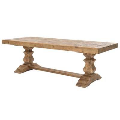 Ellicott Rustic Lodge Bleached Pine Trestle Dining Table - Kathy Kuo Home