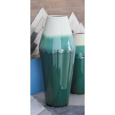 16 in. Rhombus Green and White Gradients Ceramic Decorative Vase - Home Depot