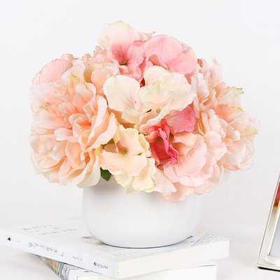 Light Hydrangea Peonies Floral Arrangement in Vase - Birch Lane