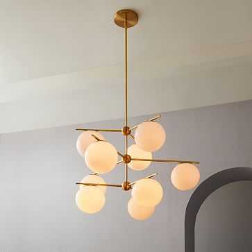 Sphere + Stem 9-Light Chandelier + Flushmount - West Elm