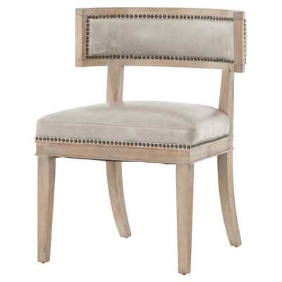 Livingston Modern Classic Curved Back Light Grey Leather Dining Chair - Pair - Kathy Kuo Home