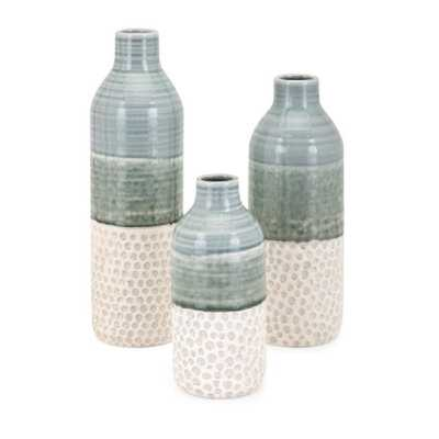 IMAX Dahlia Green Vases (Set of 3) - Home Depot