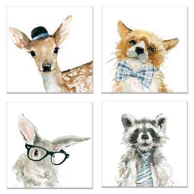 'Fox Deer Ra' 4 Piece Graphic Art Print Set on Wrapped Canvas - Wayfair