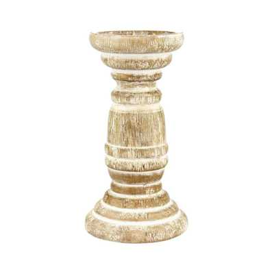 8 in. Wood Beach House Pillar Candle Holder in White, Whites - Home Depot
