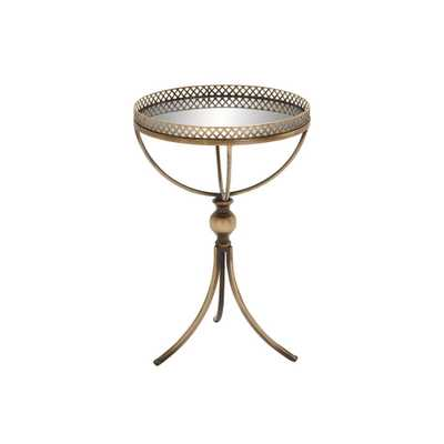 Gold Brass Round Accent Tray Table - Home Depot