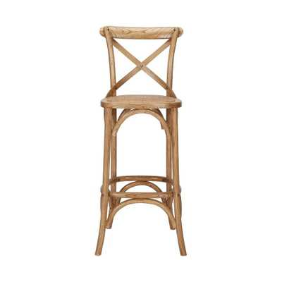 Home Decorators Collection Mavery Patina Oak Finish Wood Bar Stool with Woven Seat and Cross Back (17.72 in. W x 43.31 in. H) - Home Depot