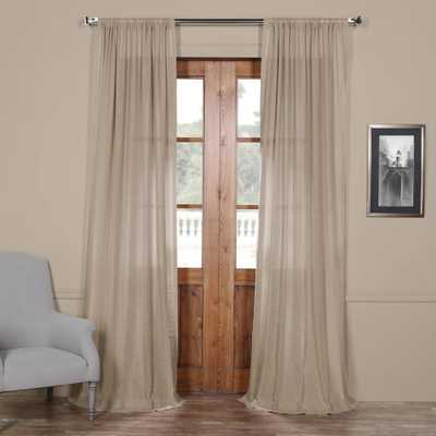 Exclusive Fabrics & Furnishings Vintage Peony Beige Faux Linen Sheer Curtain - 50 in. W x 84 in. L - Home Depot