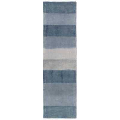 Mullican Textured Stripe Hand-Tufted Runner Wool Navy Area Rug - Wayfair