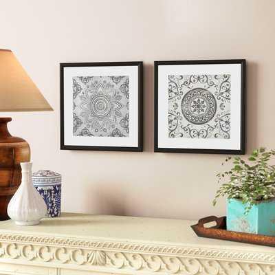 'Mandala Sunburst' 2 Piece Picture Frame Painting Set - Birch Lane
