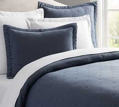 Triangle Stitch Washed Cotton Quilt, Full/Queen, Blue - Pottery Barn