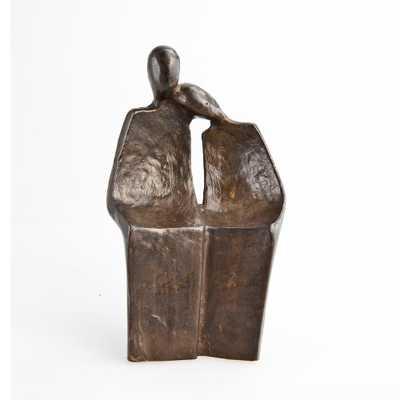 Mini Couple Human Figure Bronze Sculpture, Browns/Tans - Home Depot
