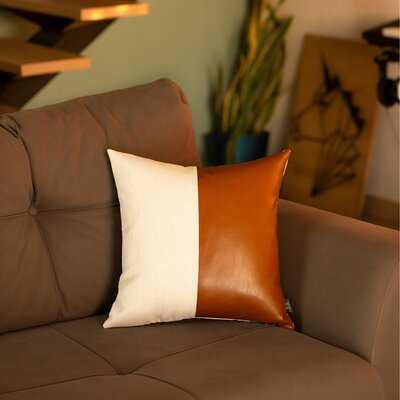 "Andice Faux Leather 17"" Throw Pillow Cover - Wayfair"
