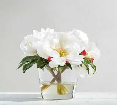Faux Peony Arrangement in Glass - Pottery Barn