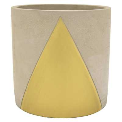 8 in. Planter - Grey/Gold - Home Depot