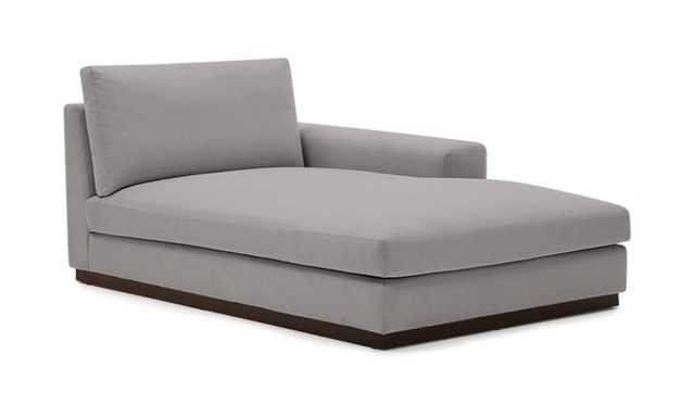 Gray Holt Mid Century Modern Single Arm Chaise - Taylor Felt Grey - Coffee Bean - Right - Joybird