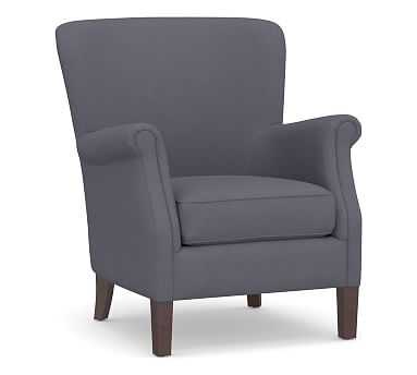 SoMa Minna Upholstered Armchair, Polyester Wrapped Cushions, Washed Canvas Storm Blue - Pottery Barn